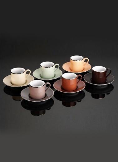 Kütahya Porselen Kütahya Porselen Rüya Renkli Kahve Fincan Takımı 12 Parça Platin Renkli